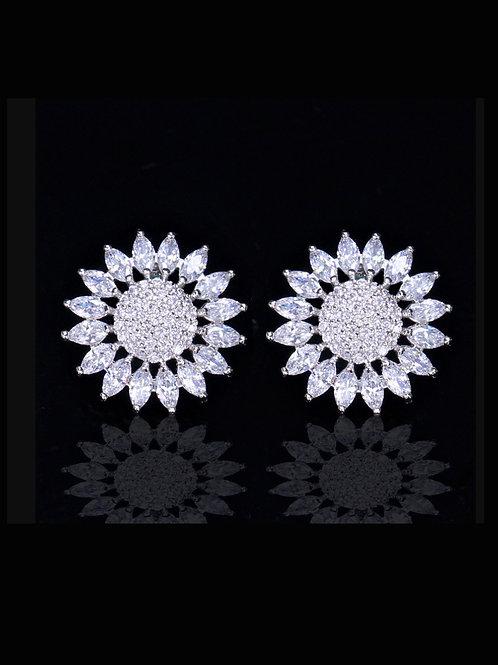 Copper white inlaid white zircon sunflower stud earrings