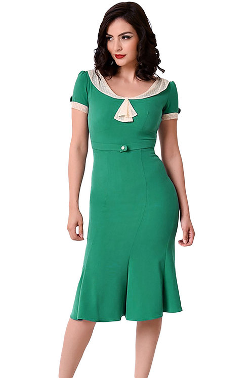 Green Ivory 50s style Vintage midi dress