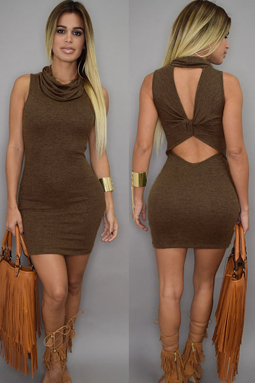 Olive green roll neck cut out back tee shirt dress