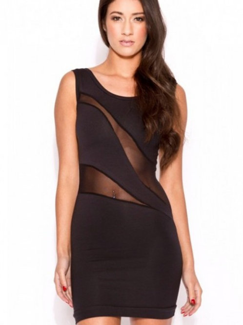 Black sheer cut out panels body con dress