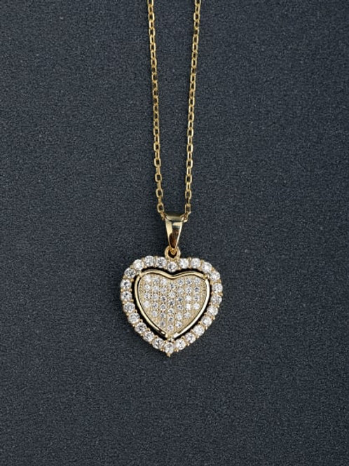 Gold plated on sterling silver 925 heart cz pendant & chain