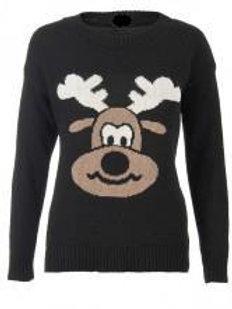 Black Christmas Reindeer Jumper