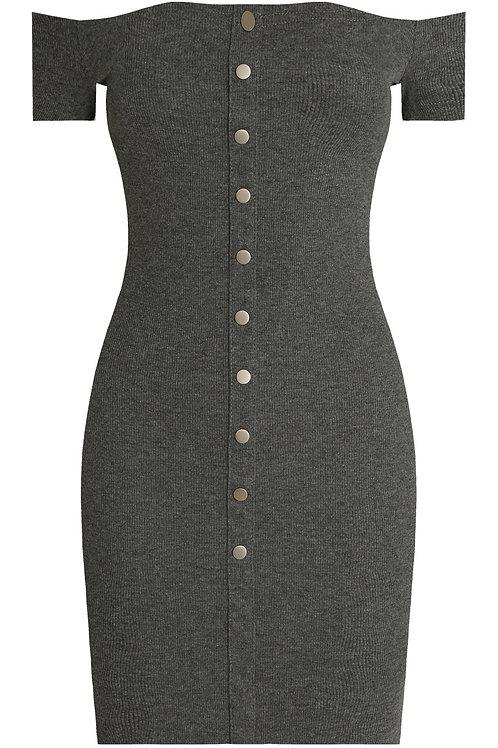 Jersey off shoulder knitted Grey dress
