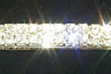 Two row silver plated rhinestone hair slide