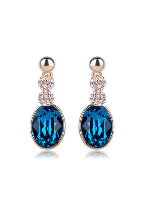 Gold plated Deep blue oval Swarovski element crystal Earrings
