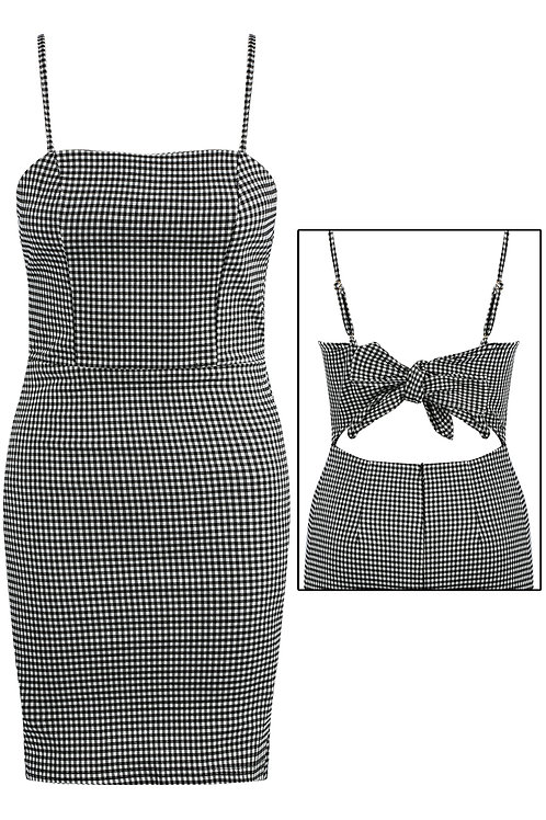 black check dog tooth tie bow at the back dress 60's mod retro