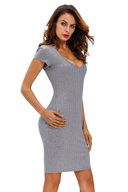 Grey V Neck Ribbed Bodycon classic Dress