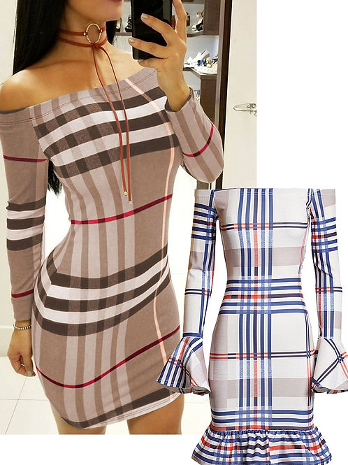 Beige off shoulder Multi coloured Checked Striped Frill Bardot Dress
