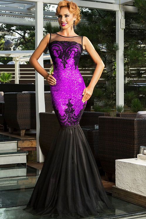 Stunning purple embellished maxi evening dress