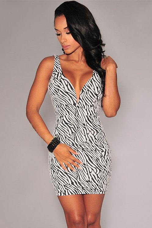 Zebra Animal Print body con Dress