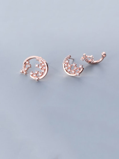 Rose colour 925 Sterling Silver With Cubic Zirconia Moon Stud Earrings