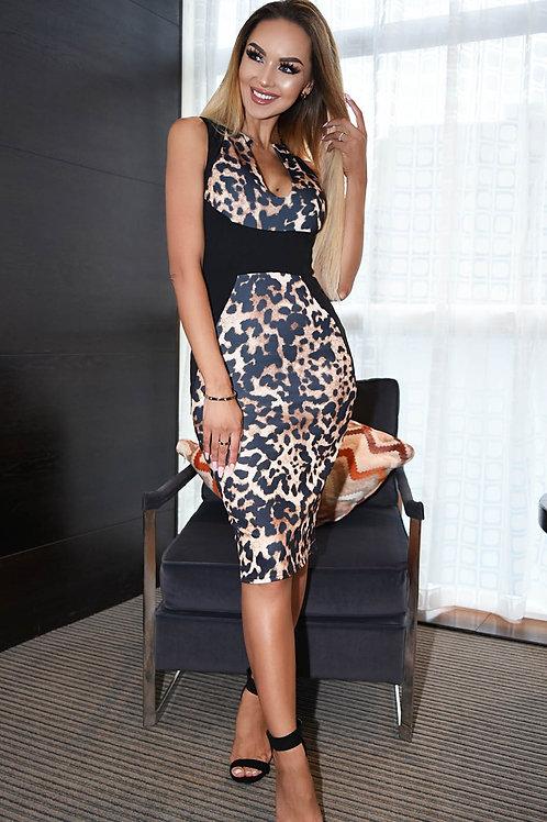 Black & leopard print v neck plunge panel dress