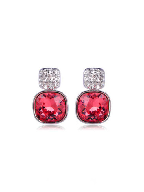 Red & white Silver plated Circular Crystal Swarovski element crystal Earrings