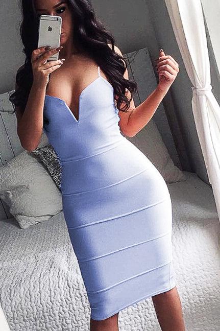 Pale blue plunge V neck bandage style dress