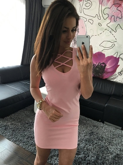 Pink strappy cross sleeveless tee shirt dress