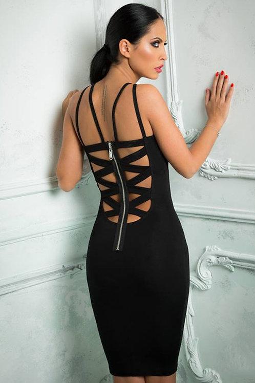 Black cut out back strappy body con dress
