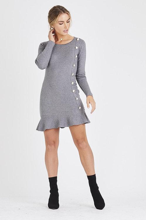 Classic Button Sleeve frill Bottom Jumper Dress