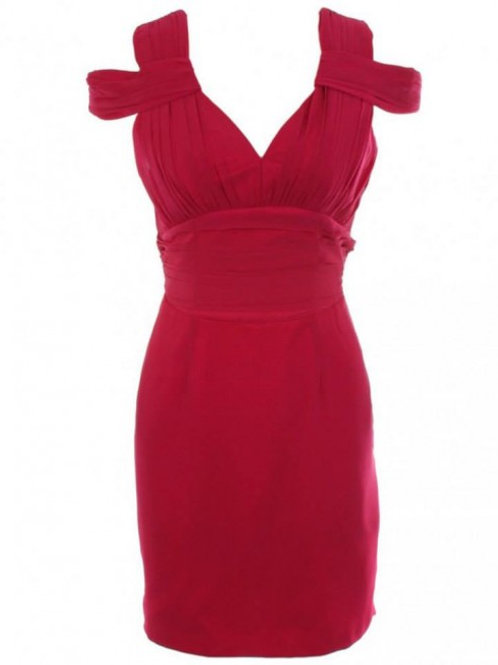 Red classic shoulder strap dress size 16