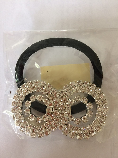 Two row round rhinestone pony tail holder