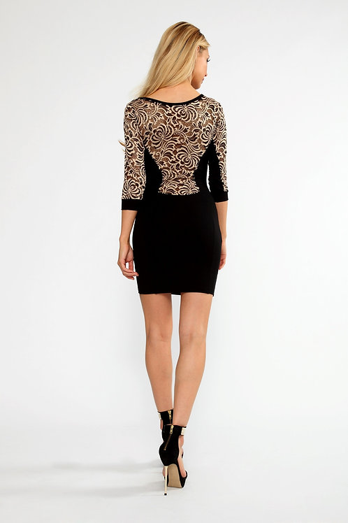 Designer Classic black and gold 3/4 length sleeve body con dress