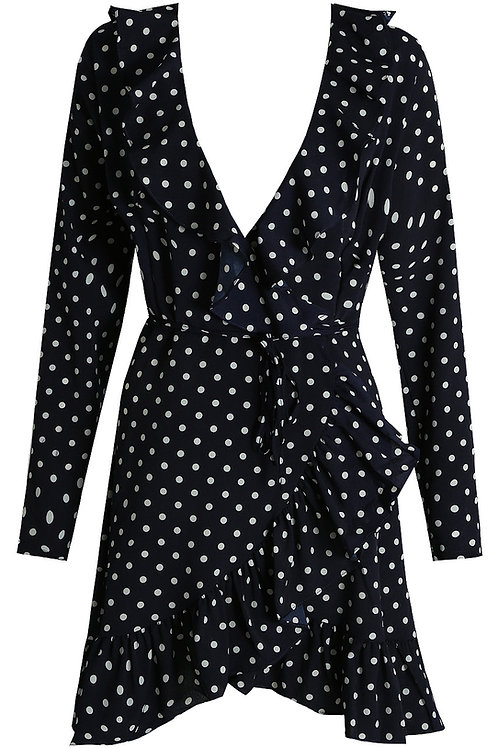 Navy blue Polka Dot Frilled Shift Dress