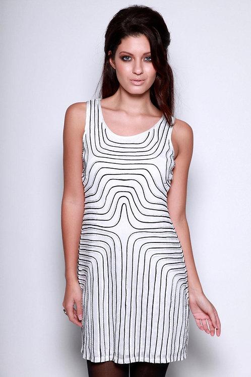 white with black swirl net beaded evening dress