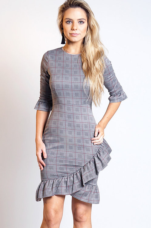 Grey frill check tartan bodycon dress