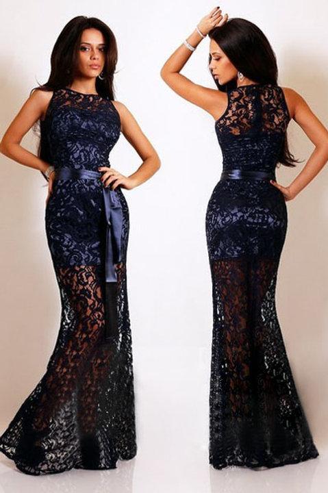 Stunning classic Navy Lace Satin Maxi dress