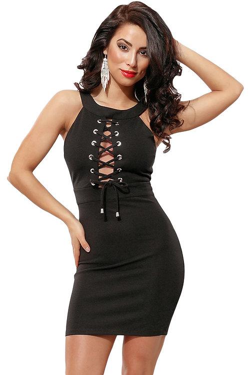 Black halter neck tie front body con dress