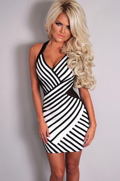 Black and white stripe mesh halter neck bodycon dress