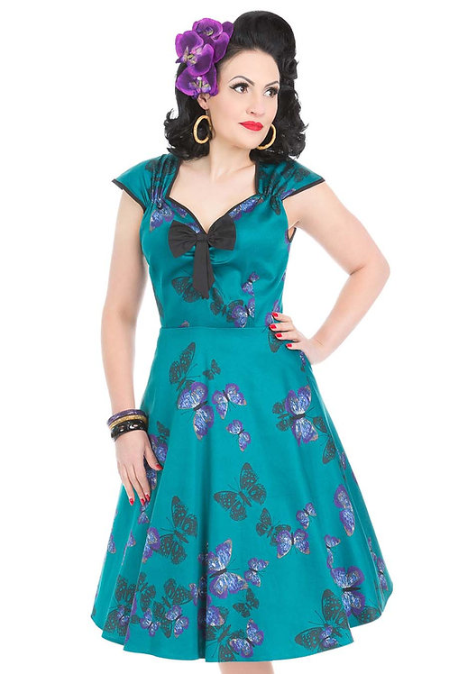 VIP teal butterfly vintage 50's style dress