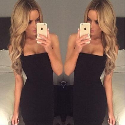 Black halter neck midi body con classic dress