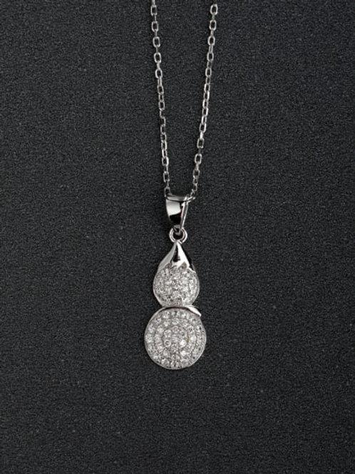 Silver Micro inlay White Zircon 925 Silver Pendant & Chain