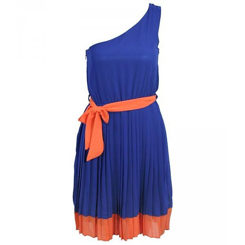 Blue pleated one shoulder dress with peach hem and belt size 12-14