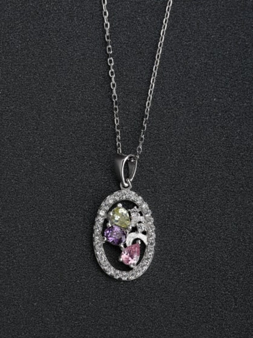 Silver Multi colour Inlaid zircon crystals stones 925 Pendant
