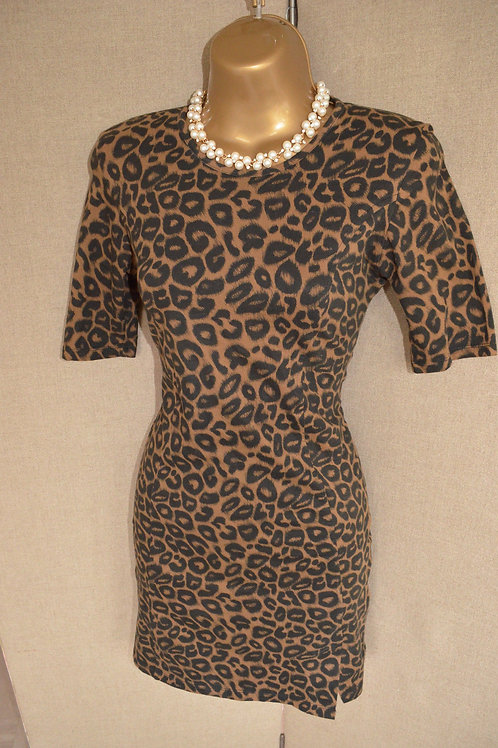 leopard print dress with a black mesh insert at the back