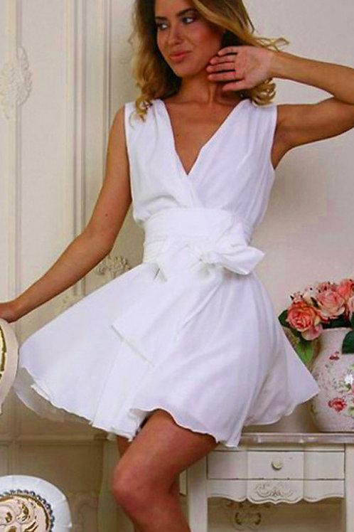 White Chiffon Skater Dress matching white bow belt