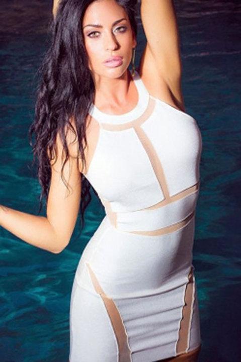 White mesh body con Illusion Mini Dress