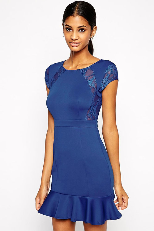 Blue lace classic skater style lace dress