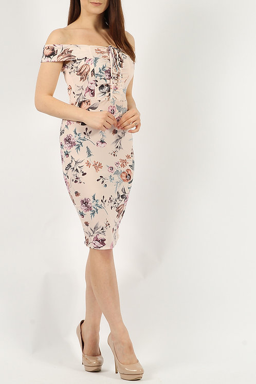 Floral Ruched Bardot Midi Bodycon dress