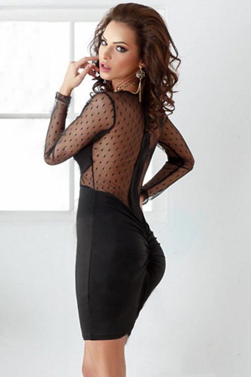Black polka dot sheer embellished body con dress