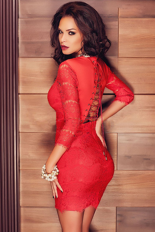 Red VIP lace deluxe lined lace up back dress