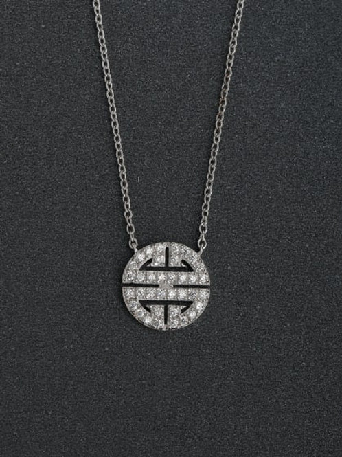 925 silver round cubic zirconia necklace pendant and chain high-quality