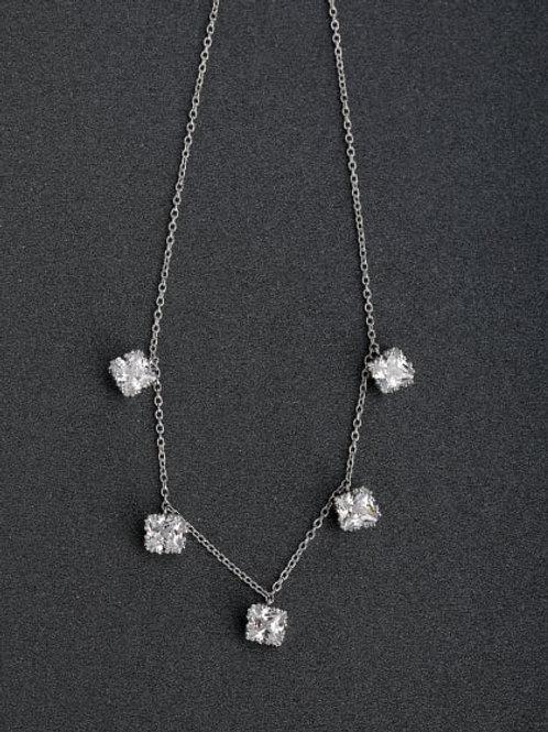 Silver Micro inlay Zircon Beaded Three-dimensional zircon 925 5 stone chain