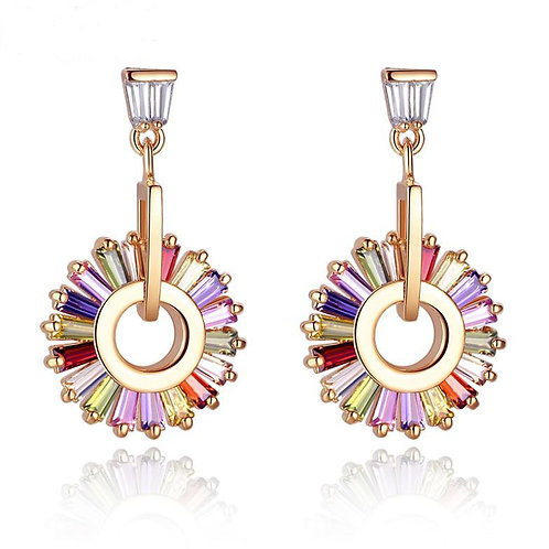18k Gold plated Trendy Round Drop Earrings with Multicolor Zircon High Quality E