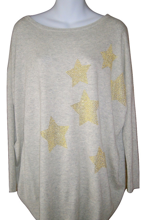 Miss Jolie Grey and gold star jumper