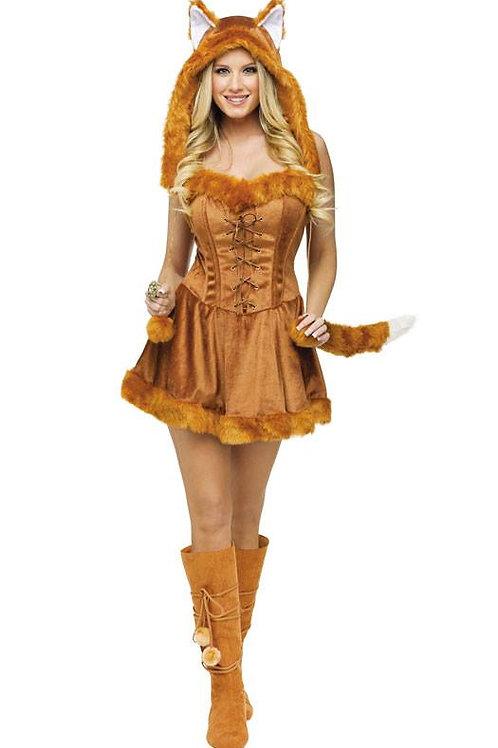 Stunning Furry fox costume corset lace up dress and furry hood