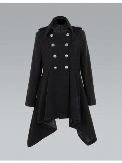 Black Asymmetric Hem Military button Coat