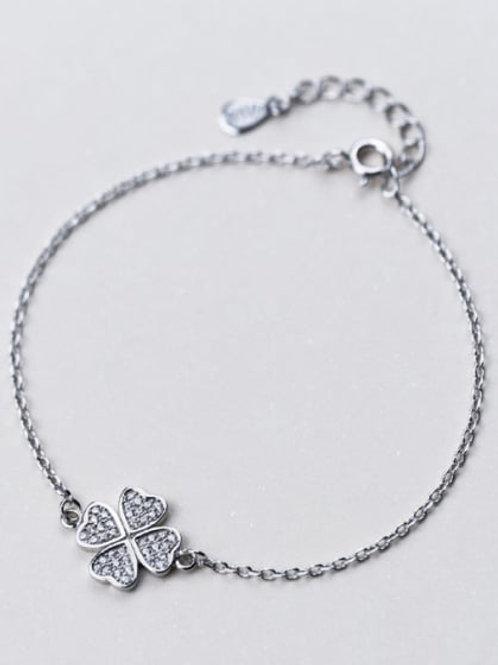 925 delicate Silver clover  Rhinestone bracelet