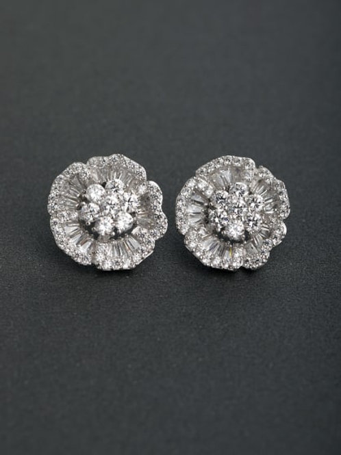 Silver Inlaid zircon large Flower 925 Stud earrings